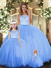 Custom Made Floor Length Ball Gowns Sleeveless Blue Sweet 16 Dresses Clasp Handle