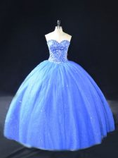 Blue Ball Gowns Sweetheart Sleeveless Tulle Floor Length Lace Up Beading Ball Gown Prom Dress