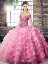 Customized Rose Pink Off The Shoulder Neckline Beading and Ruffled Layers Sweet 16 Dresses Sleeveless Lace Up