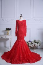 Red Mermaid Tulle Scoop Long Sleeves Lace Zipper Homecoming Dress Court Train