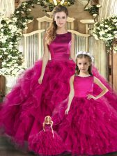 Fuchsia Scoop Neckline Ruffles Quince Ball Gowns Sleeveless Lace Up