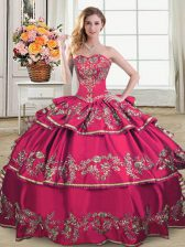 Hot Pink Sleeveless Organza Lace Up Sweet 16 Dress for Sweet 16 and Quinceanera