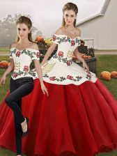 Admirable Sleeveless Organza Floor Length Lace Up 15 Quinceanera Dress in White And Red with Embroidery