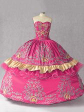 Amazing Hot Pink Ball Gowns Embroidery Ball Gown Prom Dress Lace Up Satin and Organza Sleeveless