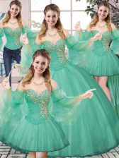 Free and Easy Floor Length Turquoise 15 Quinceanera Dress Tulle Sleeveless Beading