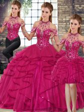 Floor Length Lace Up Vestidos de Quinceanera Fuchsia for Military Ball and Sweet 16 and Quinceanera with Beading and Ruffles