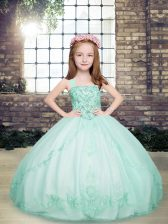 High Class Apple Green Ball Gowns Beading Pageant Gowns For Girls Lace Up Tulle Sleeveless Floor Length