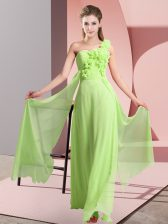 Yellow Green Sleeveless Floor Length Hand Made Flower Lace Up Quinceanera Court Dresses