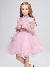 Tulle High-neck Short Sleeves Zipper Appliques Flower Girl Dresses for Less in Baby Pink