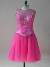 High Class Hot Pink Scoop Neckline Beading Prom Party Dress Sleeveless Lace Up