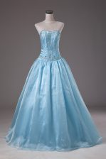 Perfect Baby Blue Organza Lace Up Ball Gown Prom Dress Sleeveless Floor Length Beading