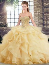 Fashionable Sweetheart Sleeveless Brush Train Lace Up Sweet 16 Quinceanera Dress Gold Tulle