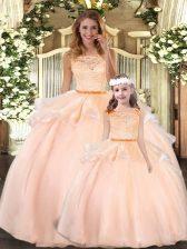 Stunning Floor Length Peach Sweet 16 Quinceanera Dress Organza Sleeveless Lace