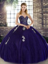 Noble Purple Sweetheart Neckline Beading and Appliques Quinceanera Gowns Sleeveless Lace Up
