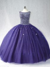 Most Popular Floor Length Purple Quince Ball Gowns Scoop Sleeveless Zipper