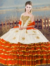 Vintage Orange Lace Up Sweet 16 Dress Ruffled Layers Sleeveless Floor Length
