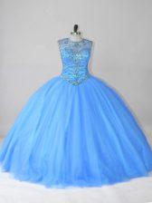 Blue Lace Up 15th Birthday Dress Beading Sleeveless Floor Length