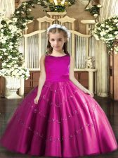 Fuchsia Ball Gowns Tulle Scoop Sleeveless Beading Floor Length Lace Up Little Girl Pageant Dress