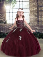 Burgundy Sleeveless Beading and Appliques Floor Length Pageant Dress for Womens