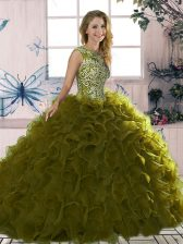 Noble Olive Green Organza Lace Up 15 Quinceanera Dress Sleeveless Floor Length Beading and Ruffles