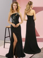 Sleeveless Sweep Train Beading Lace Up Dress for Prom
