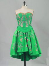 Great Green Sleeveless Embroidery Mini Length Prom Party Dress