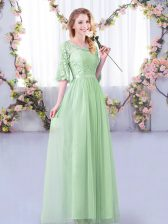 Enchanting Apple Green Half Sleeves Lace and Belt Floor Length Court Dresses for Sweet 16