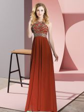 Spectacular Scoop Sleeveless Backless Prom Gown Rust Red Chiffon