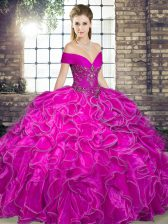 High Class Fuchsia Ball Gowns Off The Shoulder Sleeveless Organza Floor Length Lace Up Beading and Ruffles Quinceanera Dresses