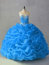 Custom Made Blue Sweetheart Neckline Beading and Pick Ups and Hand Made Flower 15 Quinceanera Dress Sleeveless Lace Up