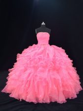 Flirting Pink Sweet 16 Dress Sweet 16 and Quinceanera with Beading and Ruffles Strapless Sleeveless Lace Up