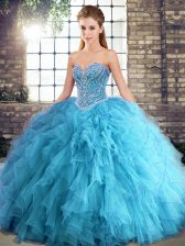 Stunning Sweetheart Sleeveless Lace Up Sweet 16 Quinceanera Dress Aqua Blue Tulle