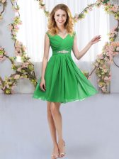 On Sale Green Sleeveless Chiffon Zipper Dama Dress for Quinceanera for Wedding Party