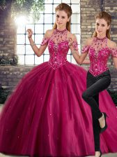 Fuchsia Two Pieces Halter Top Sleeveless Tulle Brush Train Lace Up Beading Quinceanera Dresses