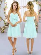 Sleeveless Hand Made Flower Lace Up Dama Dress for Quinceanera