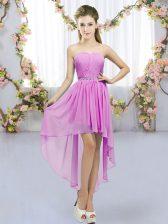 Wonderful High Low Empire Sleeveless Lilac Damas Dress Lace Up
