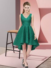 Peacock Green A-line Lace V-neck Sleeveless Lace High Low Zipper Court Dresses for Sweet 16