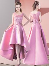 Classical Baby Pink Sleeveless Lace High Low Quinceanera Court Dresses
