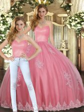 Floor Length Lace Up Sweet 16 Dress Watermelon Red for Military Ball and Sweet 16 and Quinceanera with Appliques