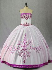 Embroidery Quince Ball Gowns White And Purple Lace Up Sleeveless Floor Length
