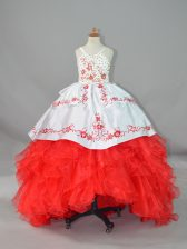White And Red Ball Gowns Beading and Embroidery and Ruffles Pageant Dress for Teens Lace Up Satin and Organza Sleeveless
