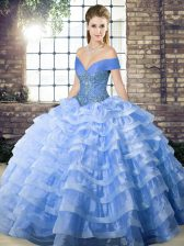 Lace Up 15 Quinceanera Dress Blue for Military Ball and Sweet 16 and Quinceanera with Beading and Ruffled Layers Brush Train