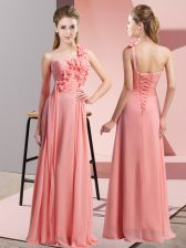 Traditional Sleeveless Chiffon Floor Length Lace Up Dama Dress for Quinceanera in Watermelon Red with Hand Made Flower