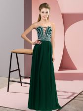 Suitable Peacock Green Lace Up Sweetheart Beading Dress for Prom Chiffon Sleeveless