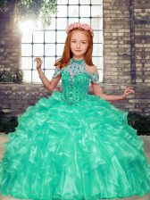 Discount Apple Green Organza Lace Up Pageant Gowns For Girls Sleeveless Floor Length Beading and Ruffles