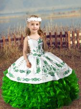 Ball Gowns High School Pageant Dress Green Straps Organza Sleeveless Floor Length Lace Up