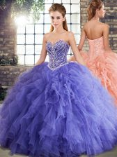 Fine Lavender Sweetheart Lace Up Beading and Ruffles Sweet 16 Quinceanera Dress Sleeveless