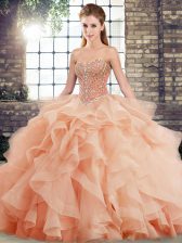 Edgy Lace Up 15th Birthday Dress Peach for Military Ball and Sweet 16 and Quinceanera with Beading and Ruffles Brush Train