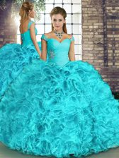 Elegant Aqua Blue Organza Lace Up Off The Shoulder Sleeveless Floor Length Sweet 16 Dress Beading and Ruffles