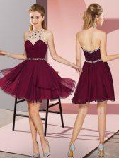 Custom Made Burgundy Halter Top Zipper Beading Homecoming Dress Sleeveless